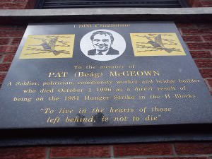 """Pat McGeown memorial - """"To live in the hearts of those left behind, is not to die"""""""