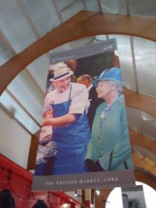 Queen Elizabeth II with butcher, english market cork