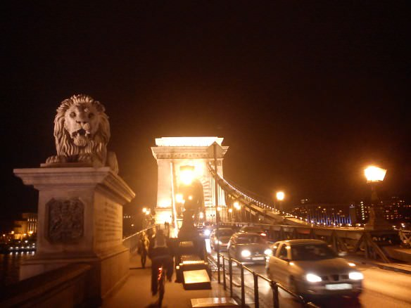 Budapest's Széchenyi bridge (chain bridge) at night