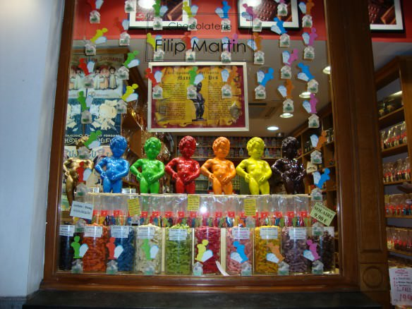 Display window of chocolates in Brussels
