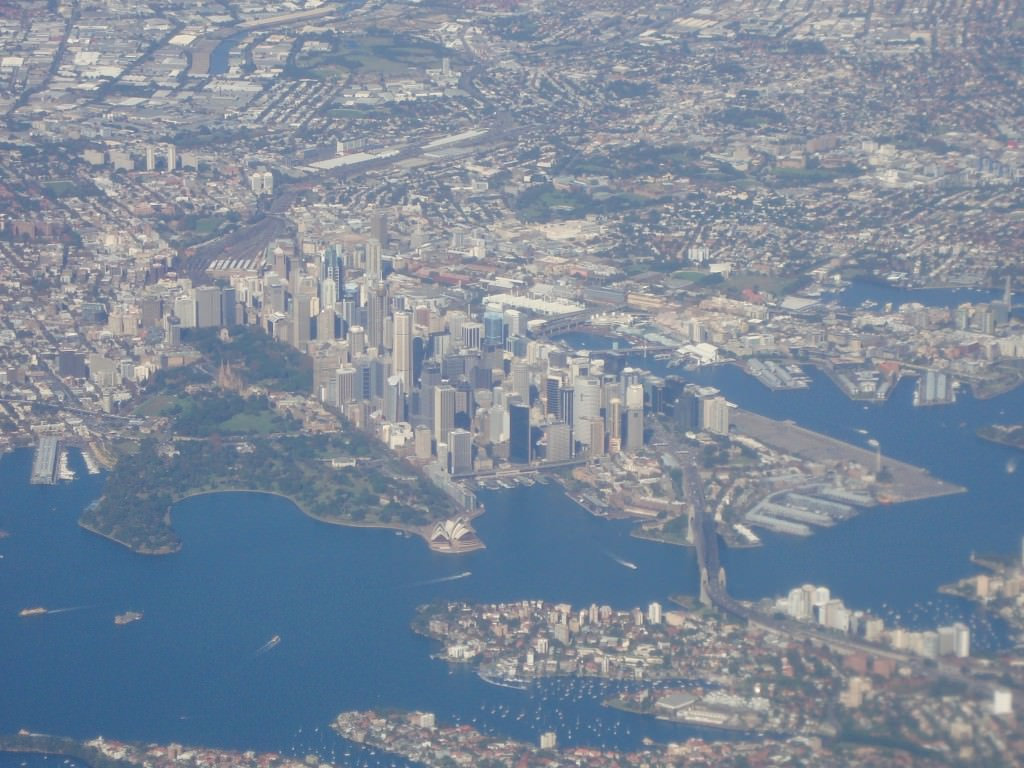 Sydney Australia from the air, with the Opera House and Harbour Bridge