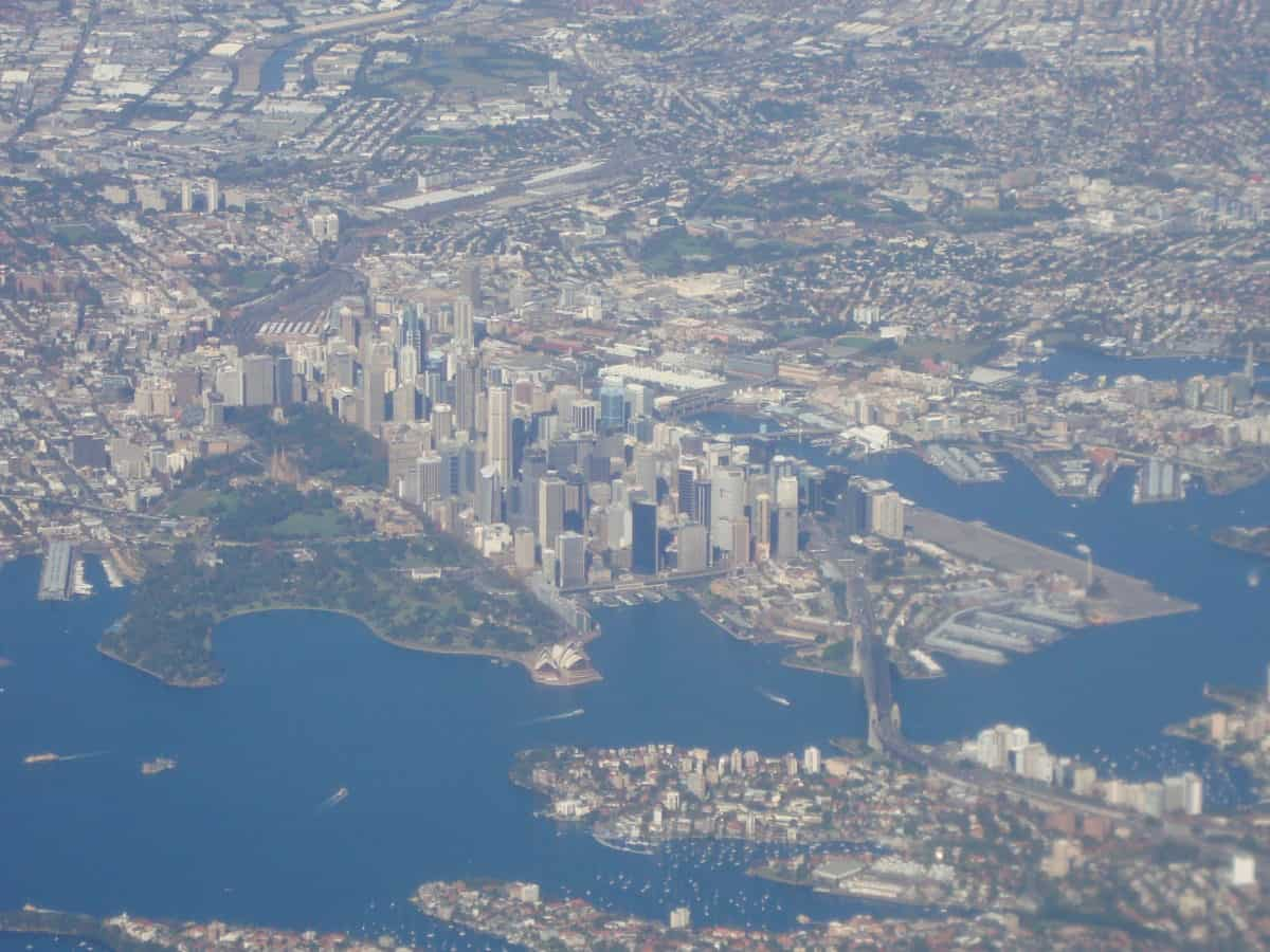 Sydney Quay from the air, with the Opera House and Harbour Bridge