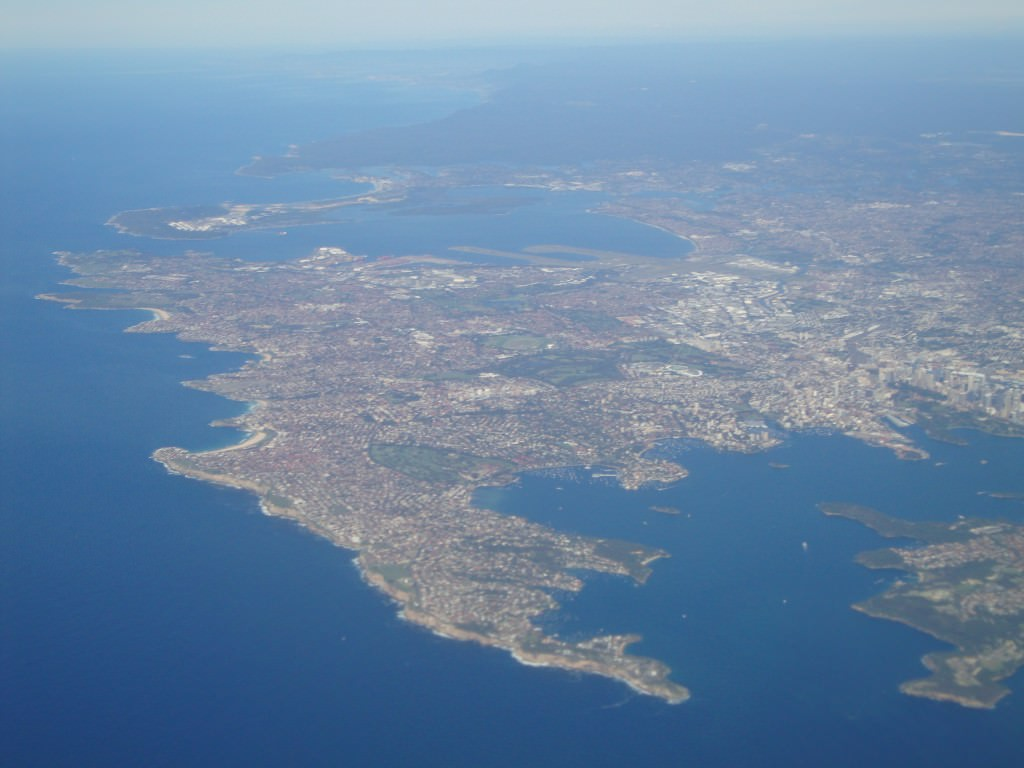 Sydney Australia from the air, coast and beaches from the plane