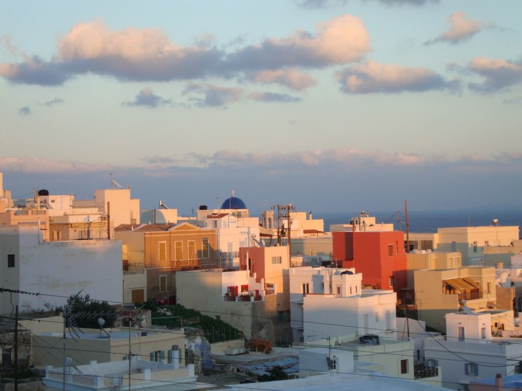 Sunset on the capital town of Syros, best greek cyclades island