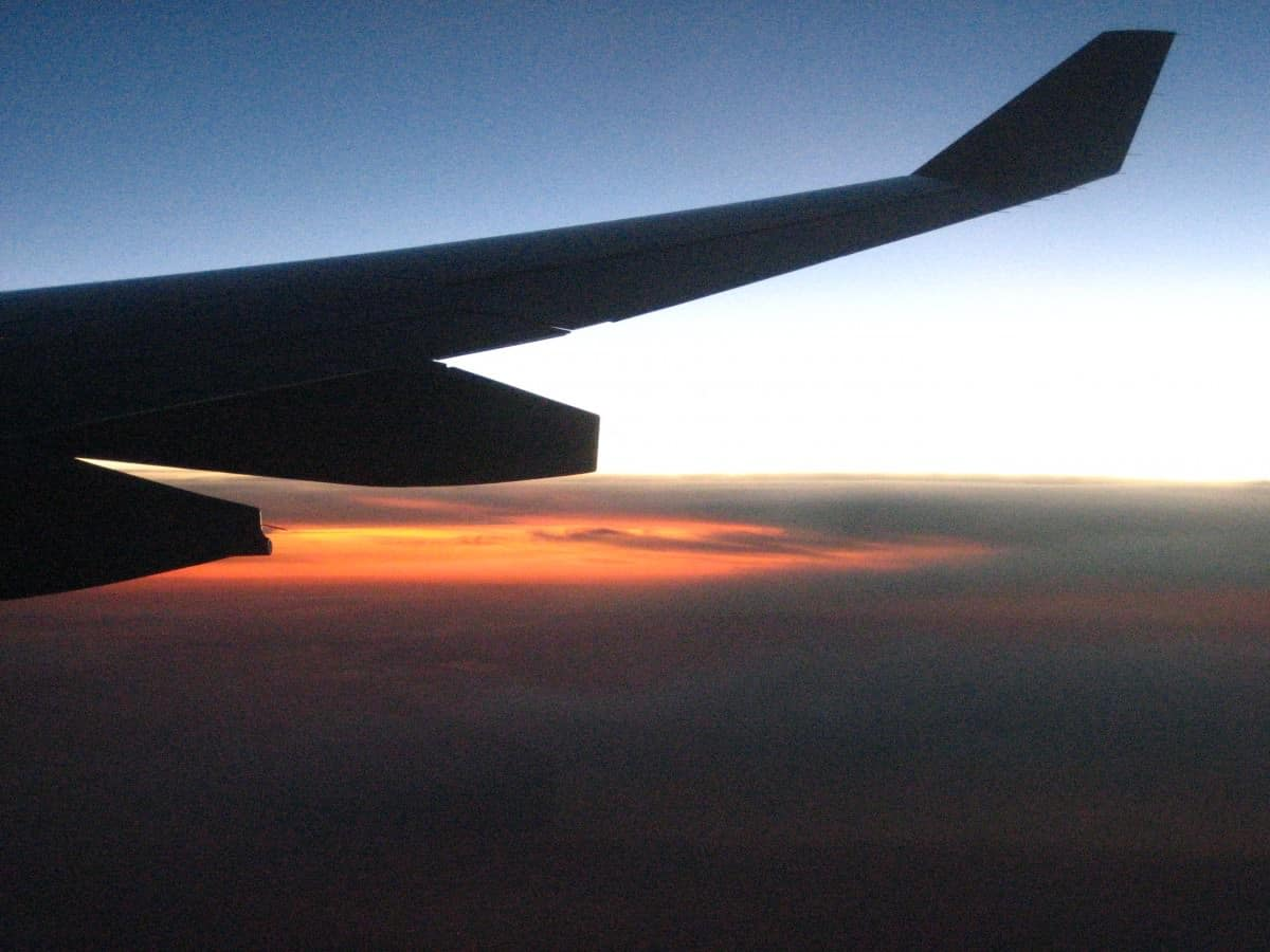Sunset in the sky, jumping airline queues