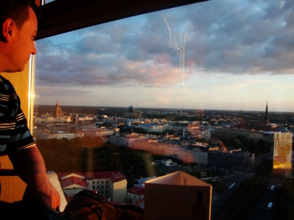 Alex looking out over the city of Riga