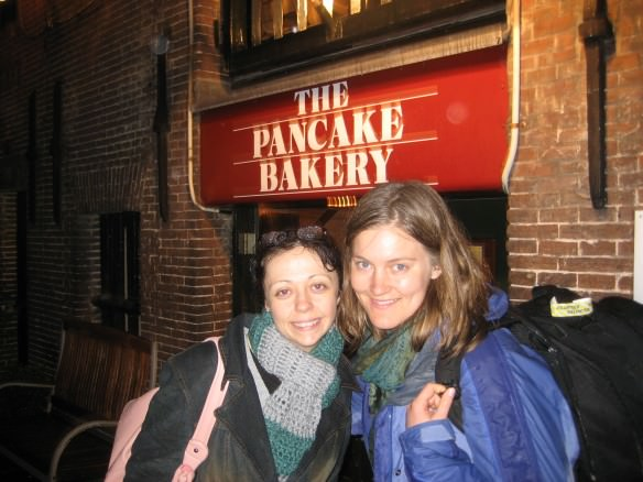 Our first couch surfer, in front of the touristy but also delicious Pancake Bakery in Amsterdam.