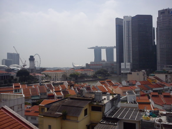 Daytime view from the rooftop of our hotel. Crazy Singapore