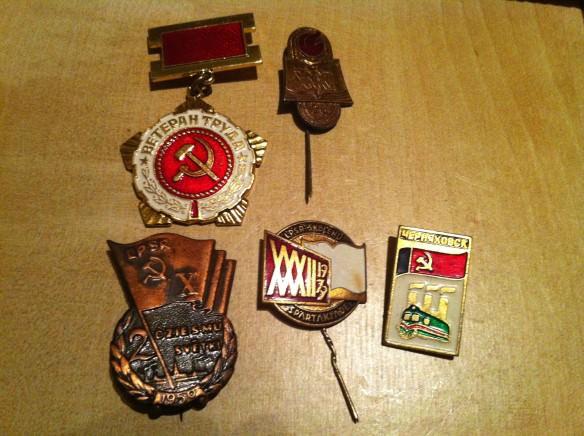 Soviet pins, ridiculous Latgale Tirgus flea market