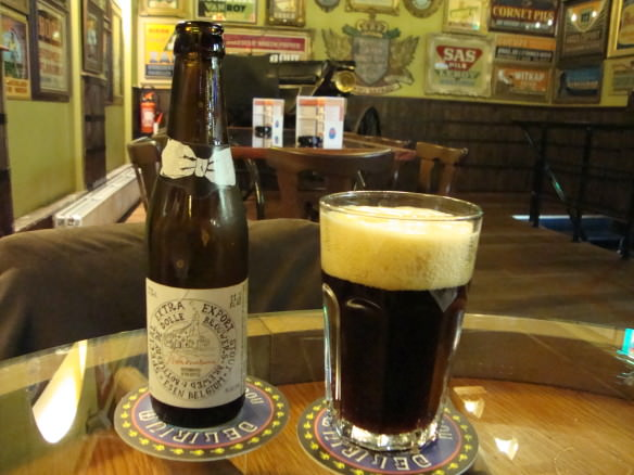 De Dolle stout at the upstairs bar of the Delirium Cafe, Biggest beer selection in the world
