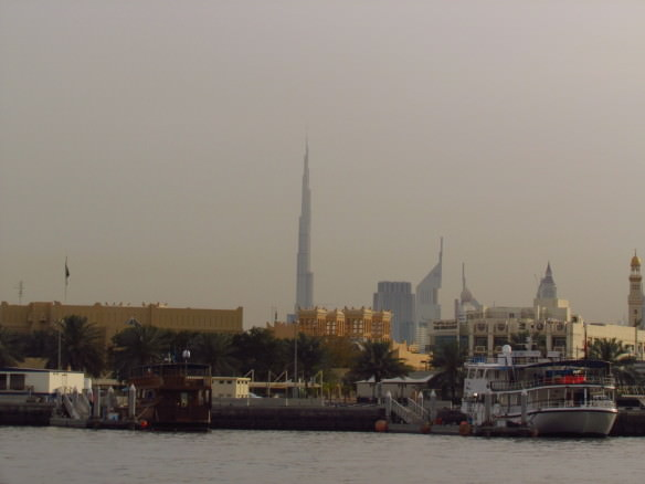Dubai water taxi from Deira, with view of Burj Khalifa, the world's tallest building
