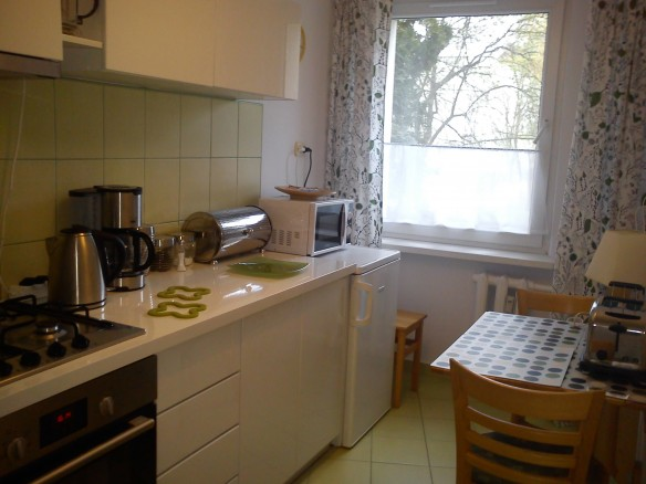 The kitchen of a lovely private apartment in Krakow at an awesome price.