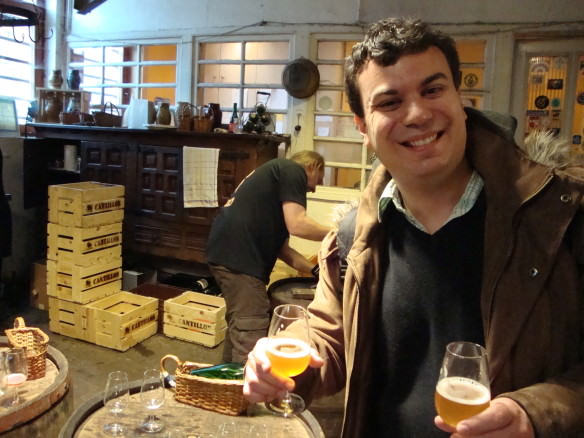 Cantillon brewery and Alex with a glass of geuze