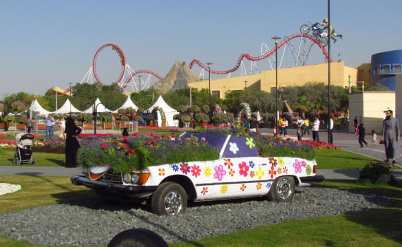 A classic Mercedes decorated with flowers at Miracle Gardens Dubai