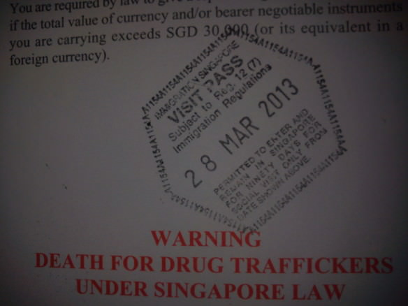 Entry stamp into Singapore