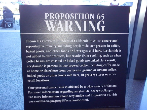 Health warning at a Starbucks in California, surprises international travelers when they visit the USA