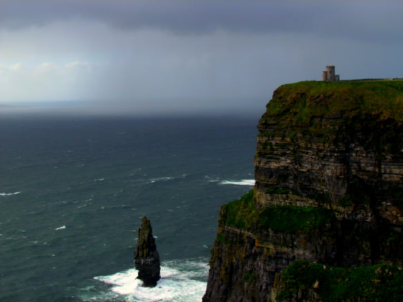 Cliffs of Moher with the rain coming in