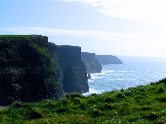 Cliffs of Moher with the sun shining down
