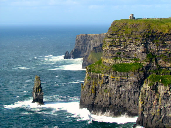 Cliffs of Moher and sea with the sun shinning