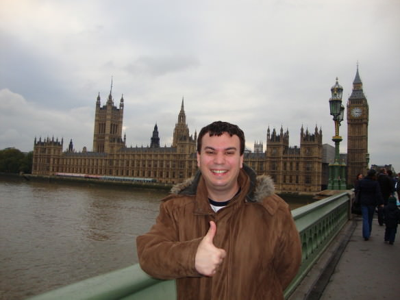 London is well connected to all of Europe through several discount airlines. Alex in front of the UK parliament