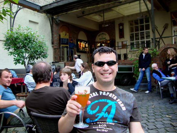 Alex at De Halve Maan brewery terrace