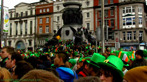 a crowd of people on St Patrick's Day in Dublin