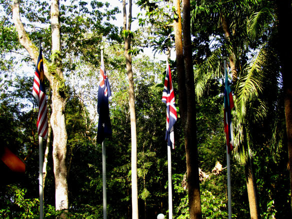 Australian, Malay and British flags at Sandakan Memorial park