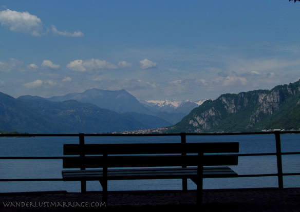 Lake Como vista from Lecco with snow capped mountains