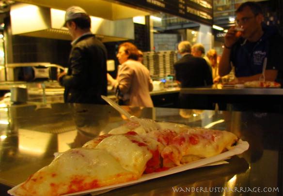 Slice of Italian pizza