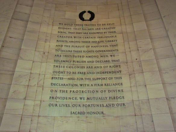 Jefferson Memorial- excerpt from Declaration of Independence