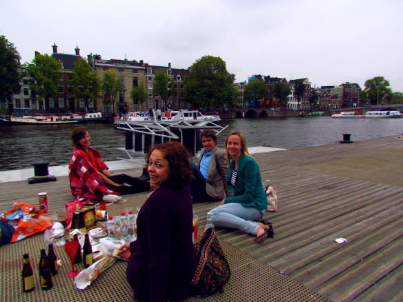 Picnic with old friends at Amsterdam's Hermitage museum boat dock.