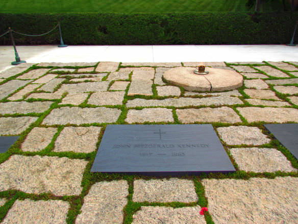 The grave of President John F. Kennedy is surrounded by some of his most memorable quotes, with memorable views of Washington DC.