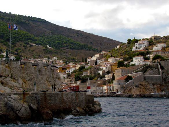 Villaged perched on the hill in the port of Hydra