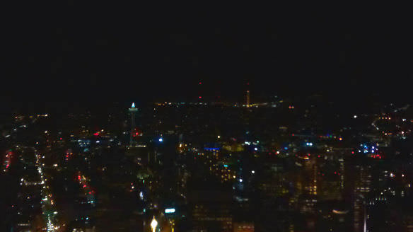 The money shot in poor 70's style photography- looking down at the Space Needle from the observation deck of the Columbia Center.