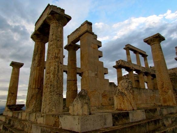 Temple of Aphaia, Aegina, Greece with an overcast sky