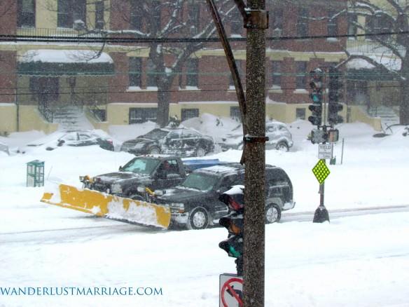 Snow plows in Boston