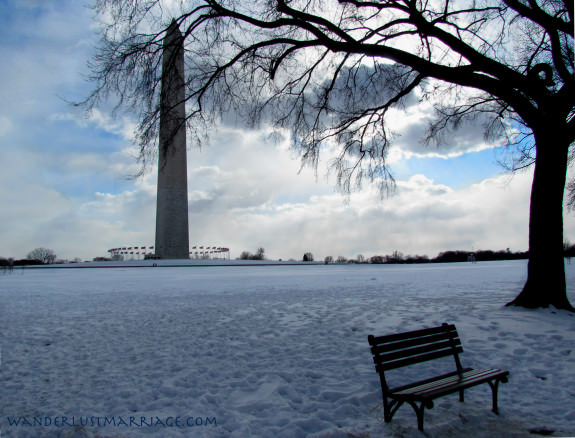 Washington Monument with snow