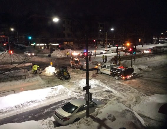 Construction crews in Boston worked around the clock to clear snow after the metro was down for nearly 36 hours.