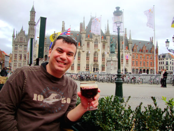Alex drinking a beer in the square in Brugge