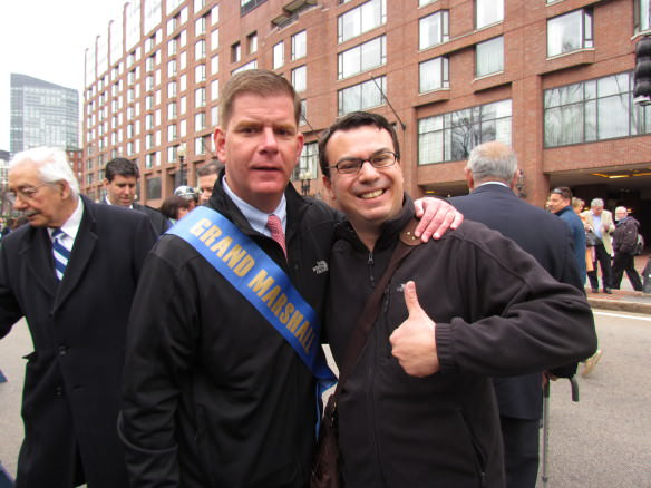My signature pose, with Boston Mayor Marty Walsh, Grand Marshall of the 2015 Greek Independence Day Parade.