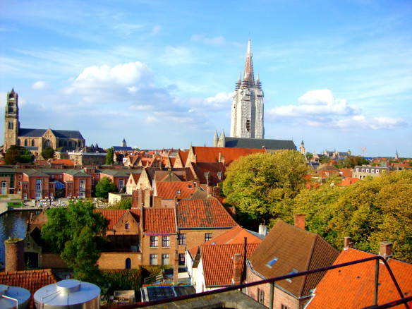View of Brugge from the rooftop of De Halve Maan Brewery