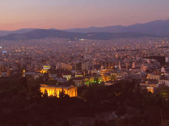sunset over Athens, including the Temple of Hephaestus
