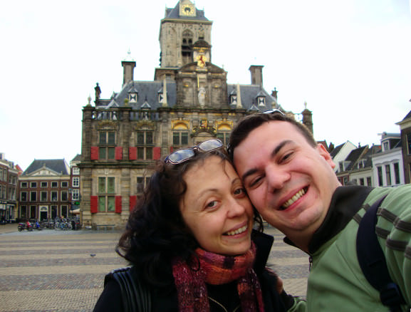 Alex and Bell in front of City Hall in Delft