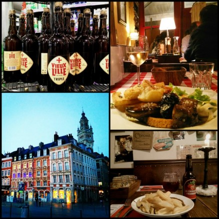 collage of French architecture, food and beer