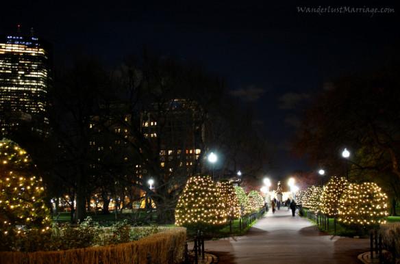 Boston Public Garden, Christmas Lights Bridge