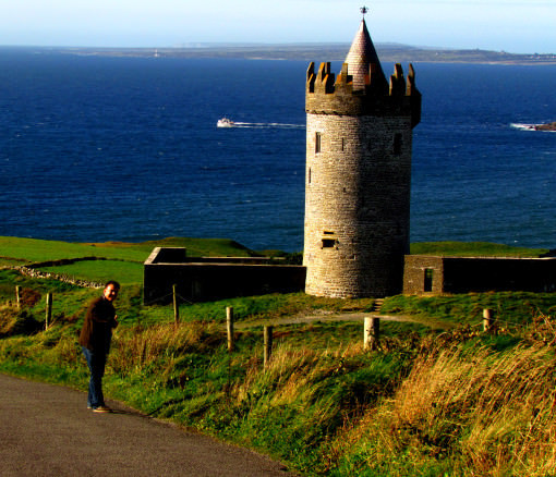 A;ex with a Castle and the sea in the background in County Clare