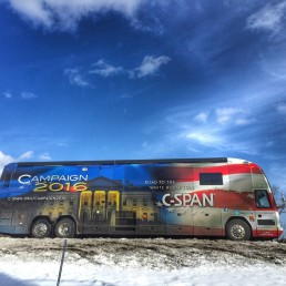 CSPAN Bus, images from 2016 New Hampshire campaign trail