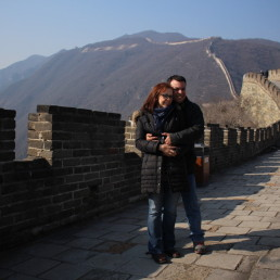 A romantic moment on the Great Wall of China