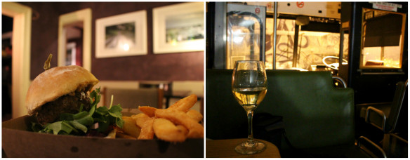 Burger and fries and glass of wine at Preachers in Hobart, Tasmania