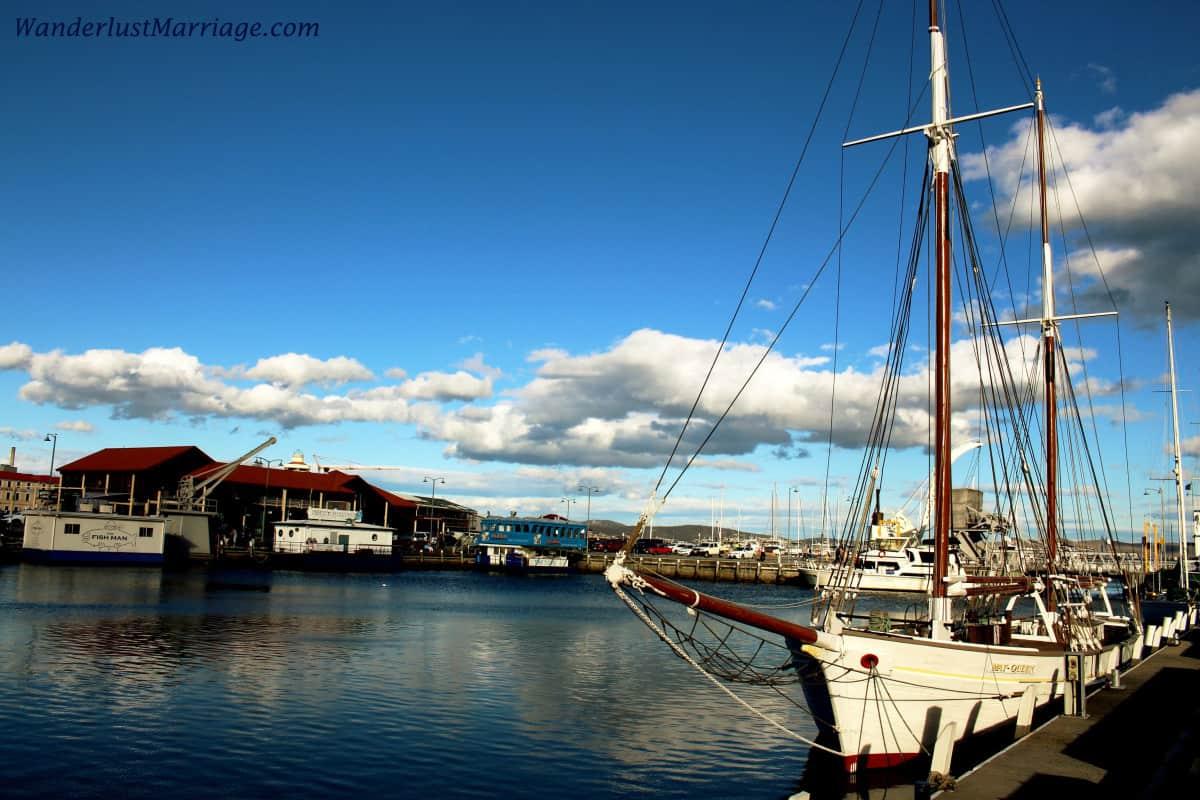 Boats docked along the marina in Hobart, Tasmania